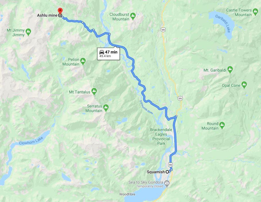 Ashlu Mine Map