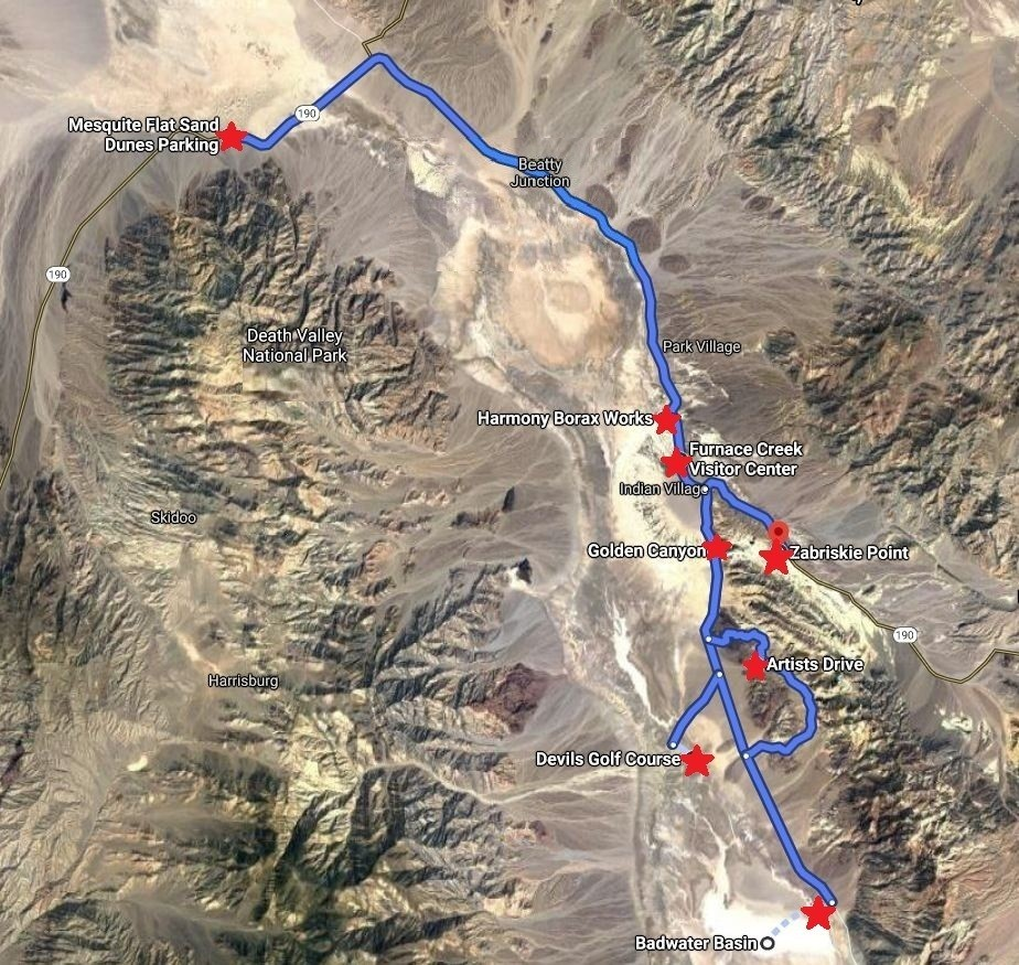 Map of must see attractions in Death Valley National park