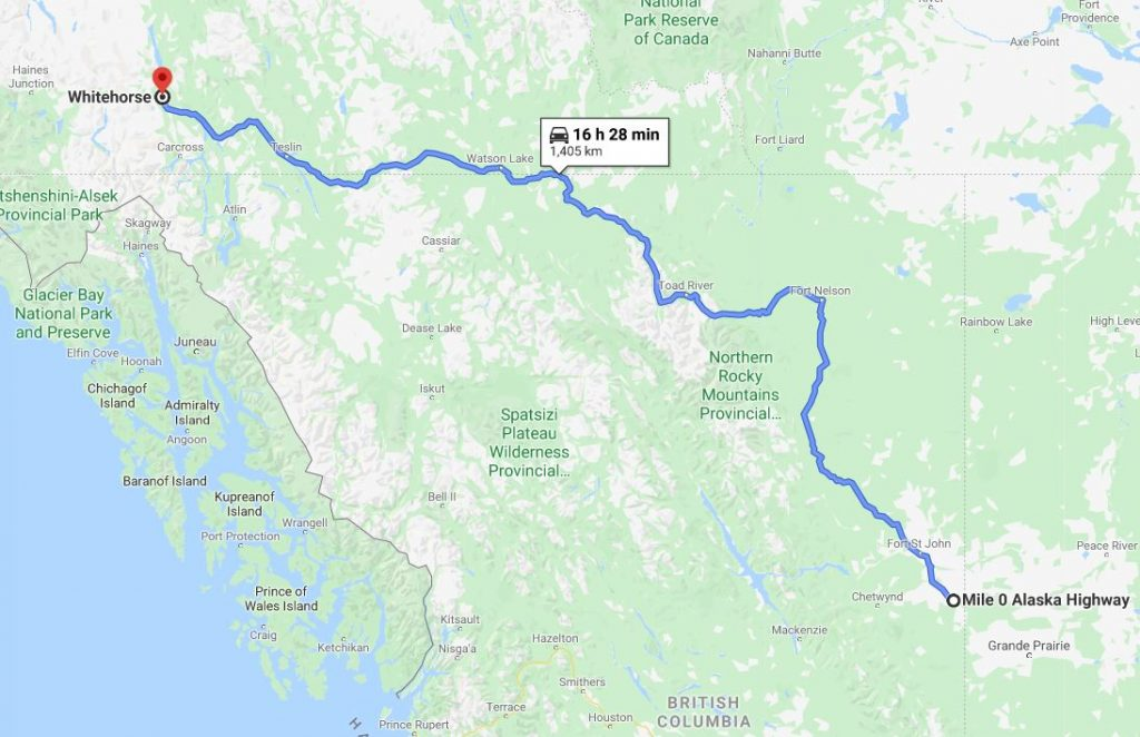 Mile 0 to Whitehorse Map
